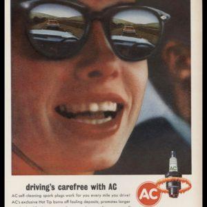 1963 AC Spark Plugs Vintage Ad | Driving's Carefree