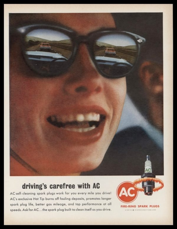1963 AC Spark Plugs Vintage Ad | Driving's Carefree