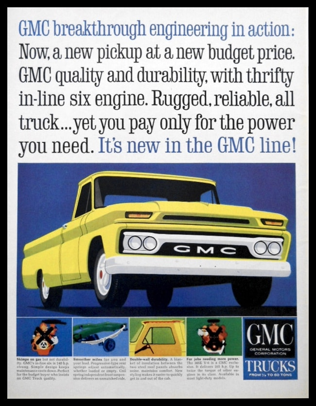 "1964 Ad GMC Pickup Truck | ""Engineering in Action"""