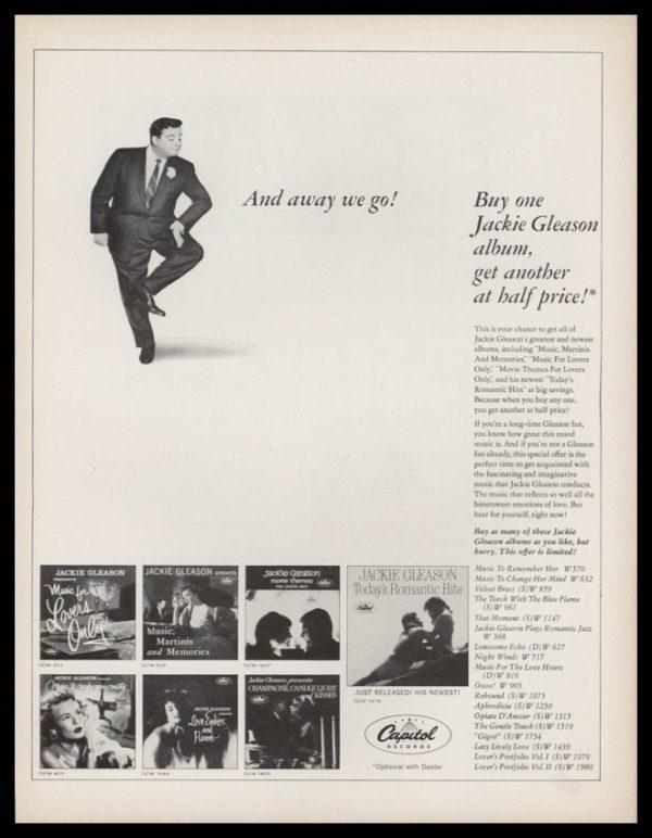 1963 Jackie Gleason Album Vintage Ad   And away we go!