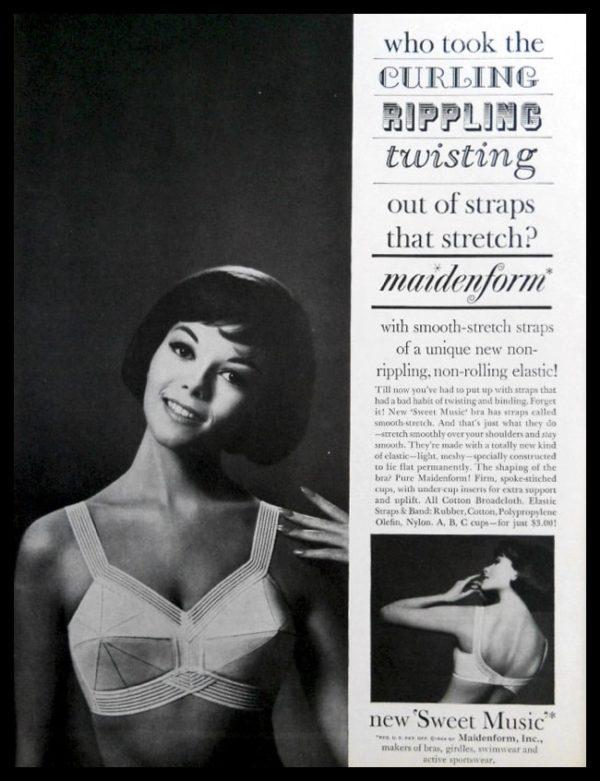 "1964 Maidenform ""Sweet Music"" Bra Vintage Print Ad - ""Smooth-Stretch"""
