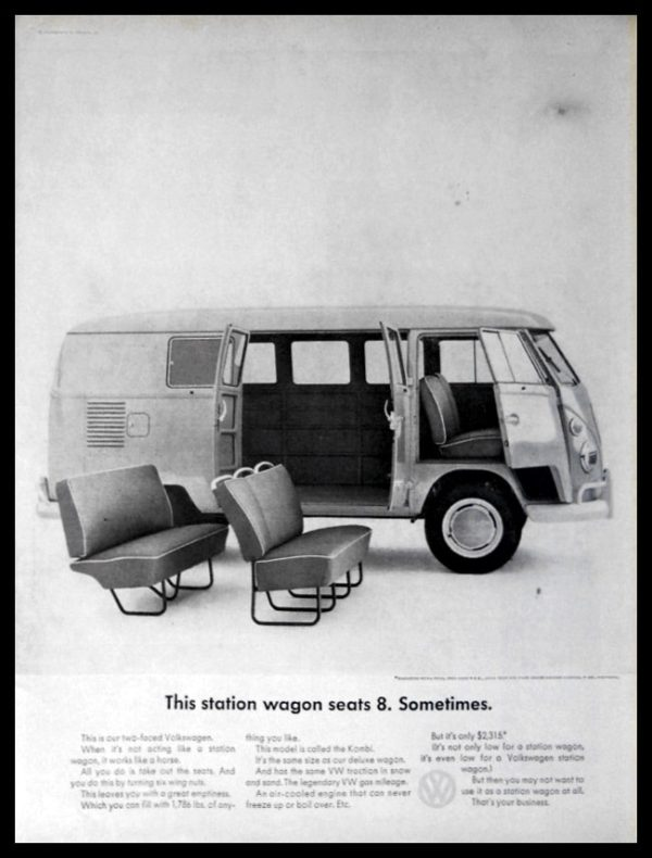 "1964 VW Kombi Bus Vintage Ad | ""seats 8. Sometimes"""