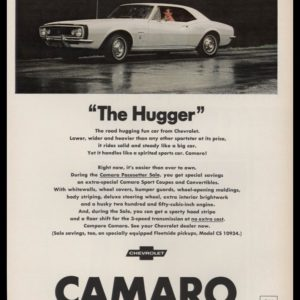 "1967 Chevrolet Camaro Vintage Ad - ""The Hugger"""