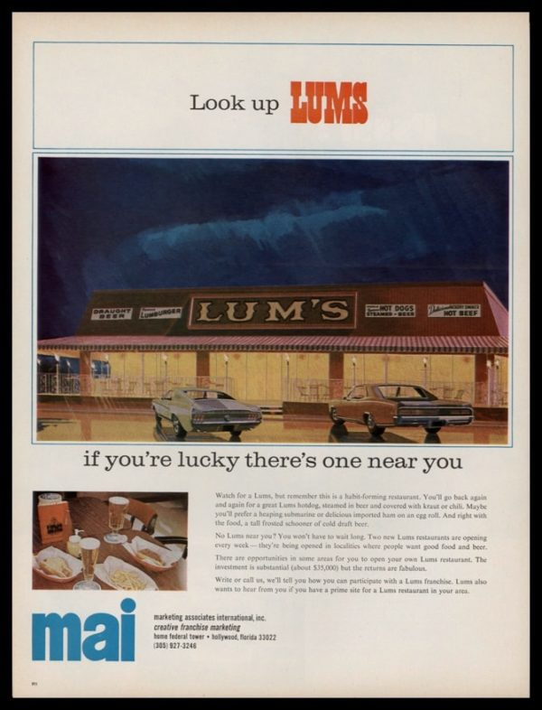 "1967 Lums Restaurant Vintage Ad | ""Look up LUMS"""