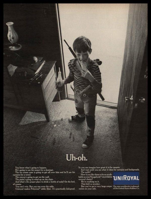 1967 Uniroyal Polycrest Olefin Fiber Vintage Ad | Uh-oh