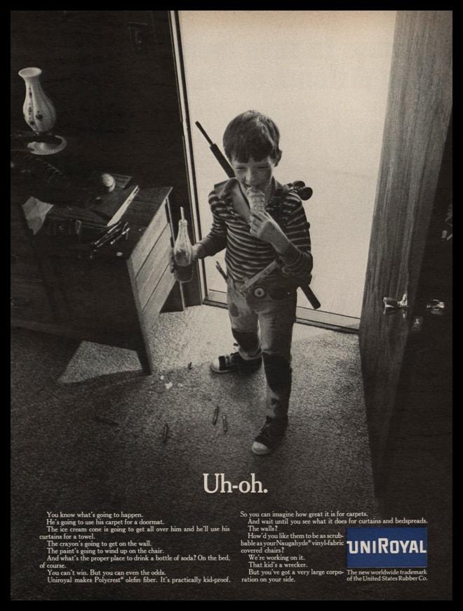 1967 Uniroyal Polycrest Olefin Fiber Vintage Ad   Uh-oh