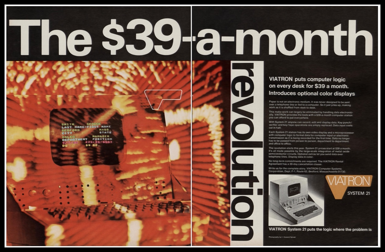 "1969 Viatron System 21 Computer 2-Page Vintage Print Ad - ""The $39-a-month revolution"""