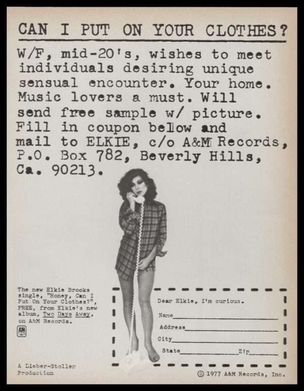 """1977 Elkie Brooks Album Promo Vintage Ad - """"Can I Put on Your Clothes"""""""