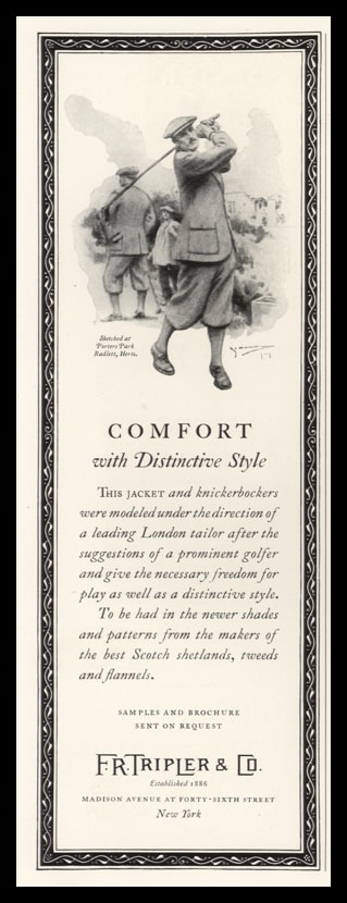 1925 F.R. Tripler Tailors Vintage Ad | Golf Art