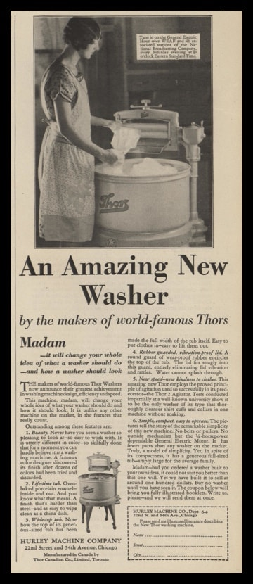 1929 Thor Washing Machine Vintage Ad