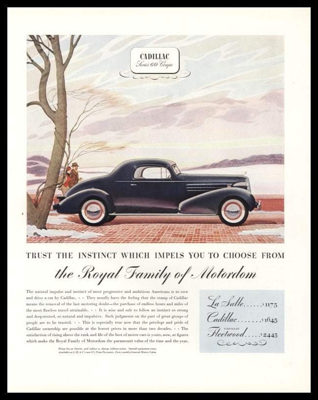 1936 Cadillac Vintage Ad | Series 60 Coupe