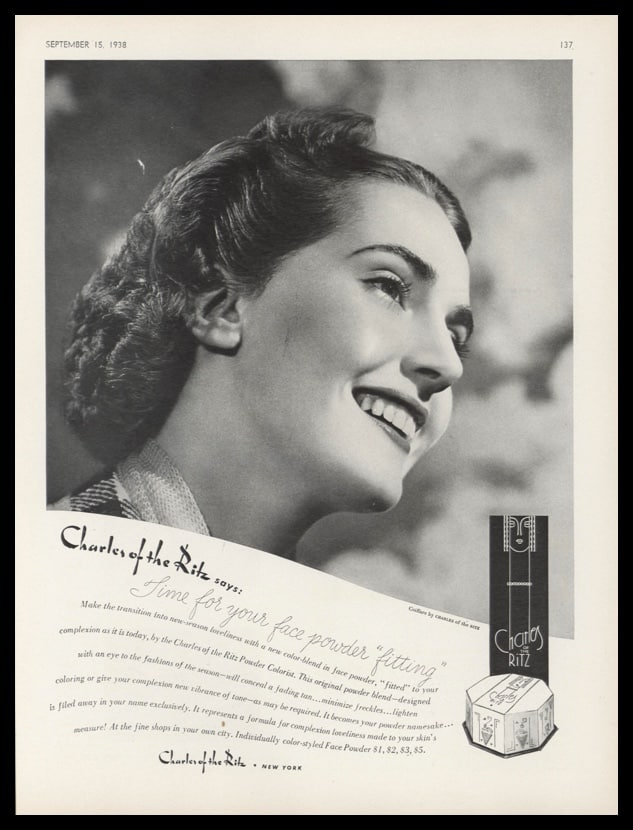 1938 Charles of the Ritz Vintage Ad | Face Powder
