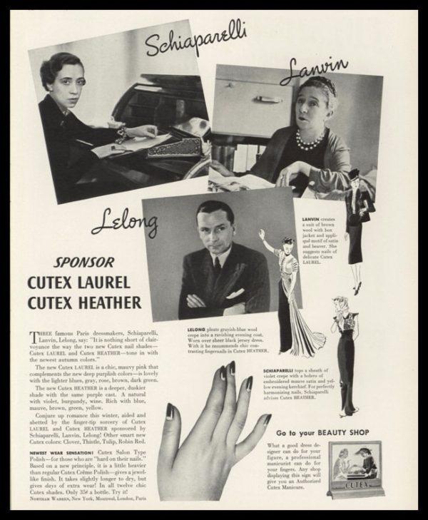 1938 Cutex Nail Polish Vintage Ad | Schiaparelli