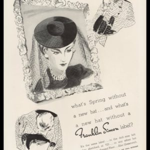 1938 Franklin Simon Vintage Ad | Veiled Sailor Hat