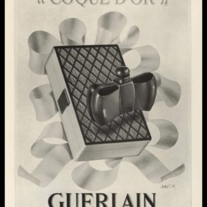 1938 Guerlain Perfume Vintage Ad | Coque D'or