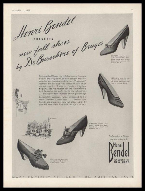 1938 Henri Bendel Vintage Ad   Shoes by DeBusschère of Bruges