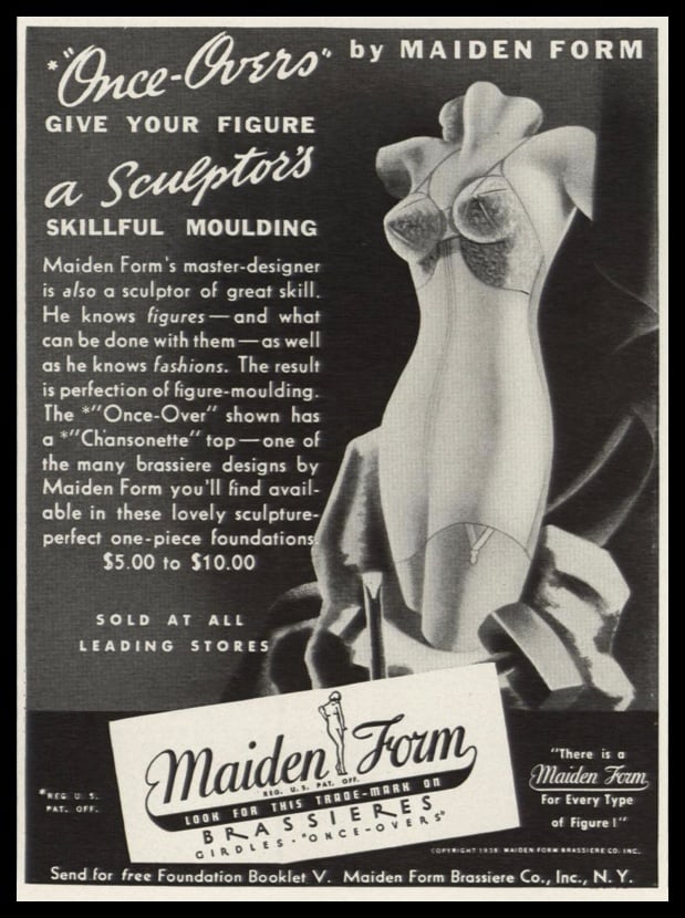1938 Maidenform Once-Overs Vintage Ad | Chansonette Top