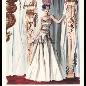 1938 René Bouët-Willaumez Fashion Art Print | Chanel Dress