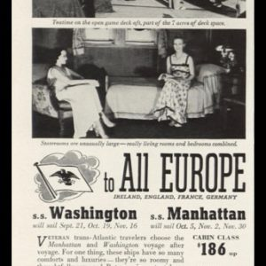 1938 U.S. Lines Vintage Ad | To All Europe