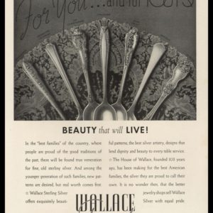 1938 Wallace Silversmiths Vintage Ad | Flatware Patterns