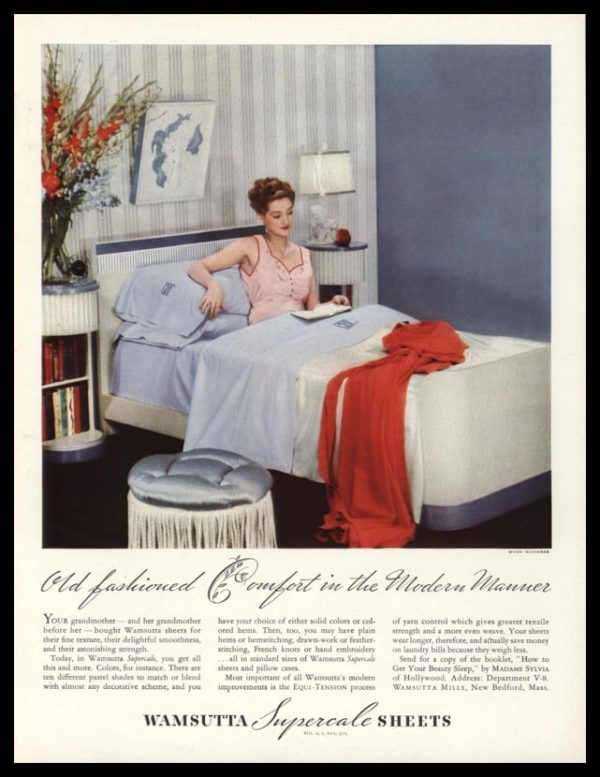 1938 Wamsutta Superscale Sheets Vintage Ad | Wynn Richards Photo