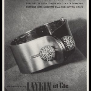 1940 Laykin et cie Vintage Ad | Gold Cuff-Diamond Buttons