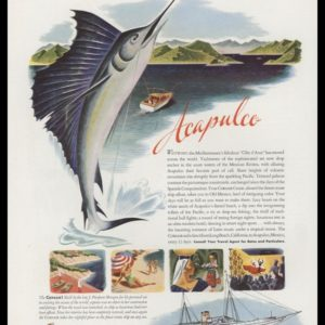 1947 Corsair Acapulco Cruise Vintage Ad | Sport Fishing Art