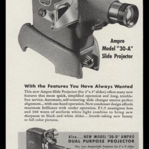 1947 AMPRO Slide Projector Vintage Ad | Model 30-A