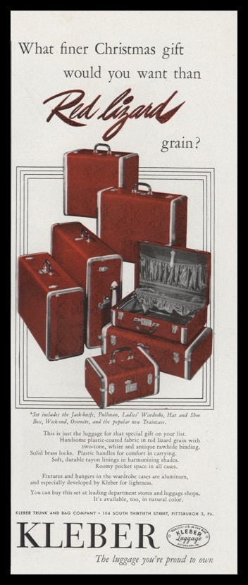 1947 Kleber Luggage Vintage Ad | Red Lizard Grain