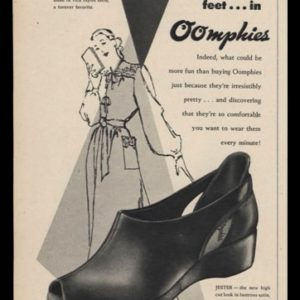 1947 Oomphies Shoes Vintage Ad | Slidealong & Jester Models