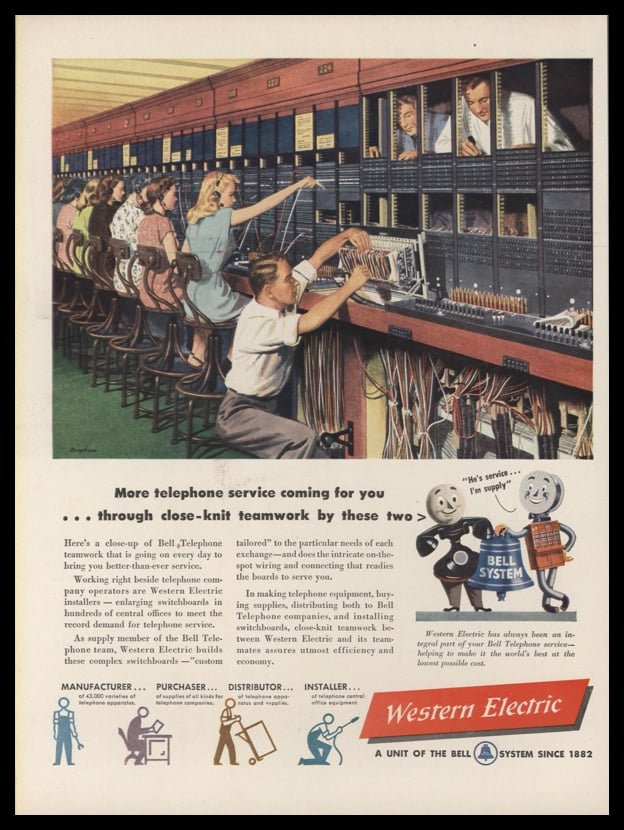 1947 Western Electric Vintage Ad | Switchboard Art