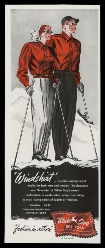 1947 White Stag Ski Togs Vintage Ad | Windshirt