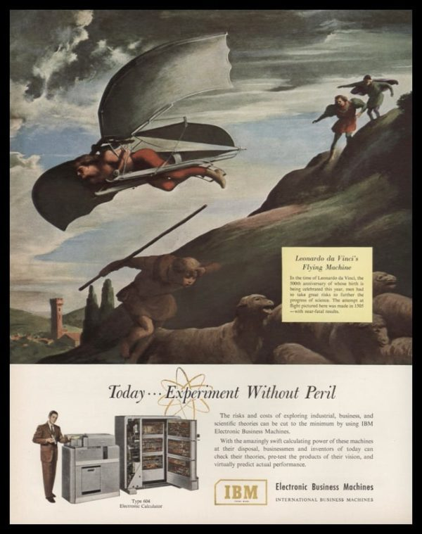 1952 IBM Vintage Ad | Leonardo da Vinci's Flying Machine