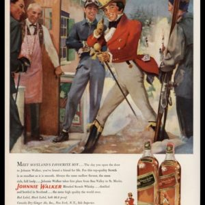 1952 Johnnie Walker Scotch Vintage Ad | Snow Ski Art