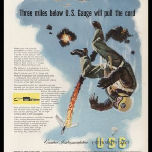 1952 United States Gauge Vintage Ad | Pilot Bail Out
