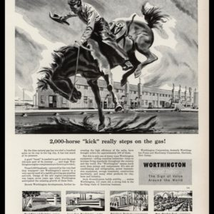 1952 Worthington Corp. Vintage Ad | Bronc Rider Art