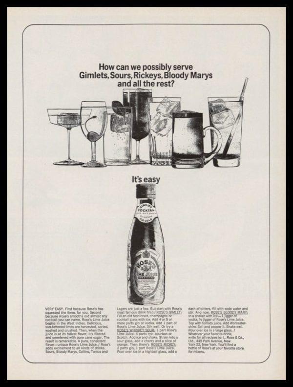 1963 Roses Lime Juice Vintage Ad   Cocktail Art