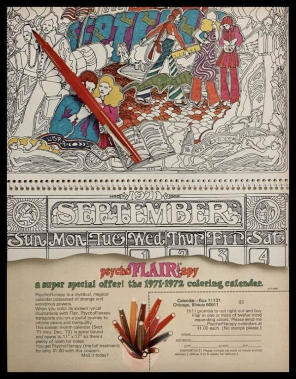1971 PsychoFLAIRapy Coloring Calendar Vintage Ad