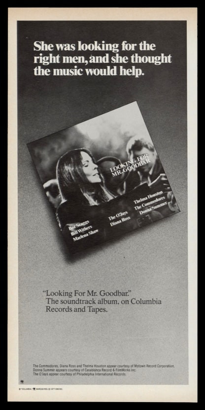 1977 Ad Looking for Mr. Goodbar Movie Soundtrack
