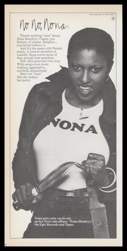 1977 Nona Hendryx Self-Titled Album Vintage Ad | No No, Nona