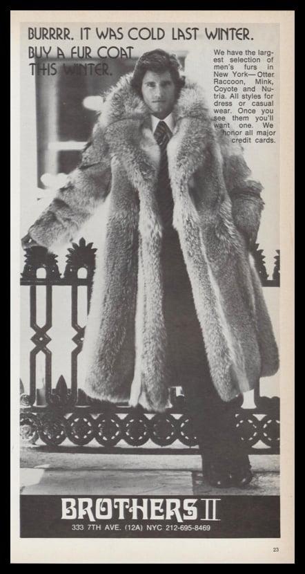 1978 Brothers II Vintage Ad | Men's Fur Coats