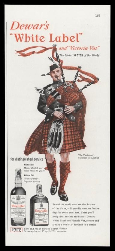 1948 Dewar's Scotch Vintage Ad | Clan Tartan Bagpipe