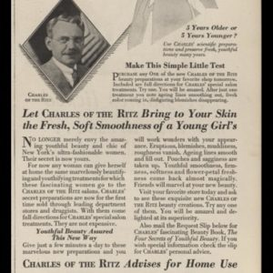 1929 Charles of the Ritz Vintage Ad | Beauty Preparations