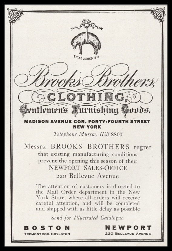 1919 Brooks Brothers Clothing Vintage Ad