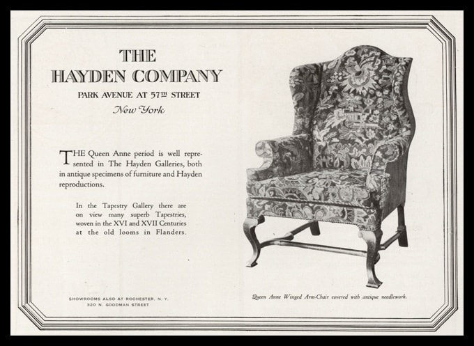 1919 The Hayden Company Vintage Ad | Queen Anne Arm-Chair