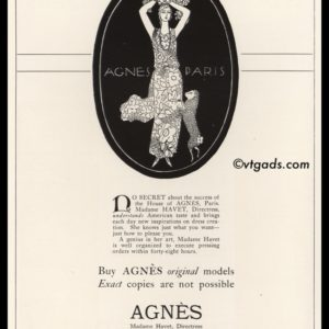 1925 Agnès of Paris Vintage Ad
