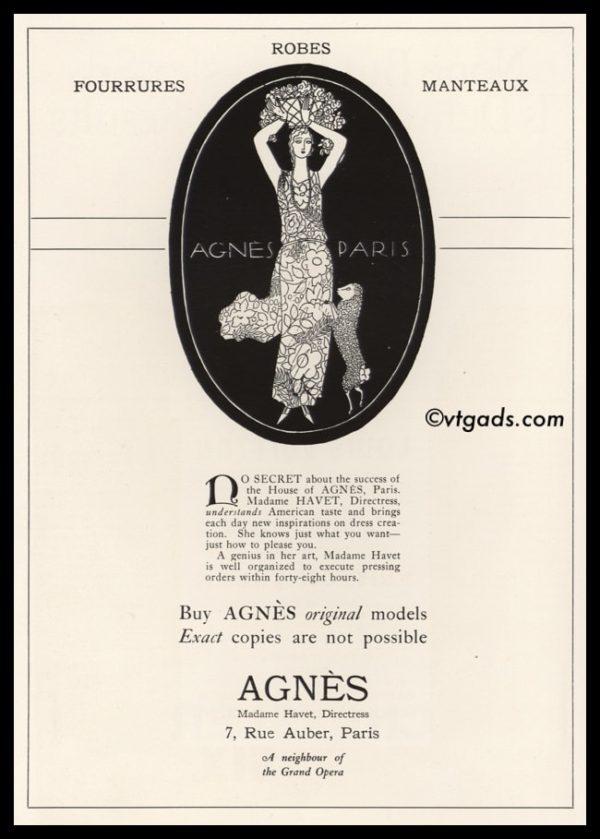 1925 Agnès of Paris Vintage Ad