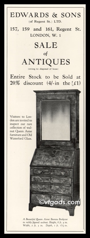 1925 Edwards & Sons Vintage Ad | Queen Anne Bureau