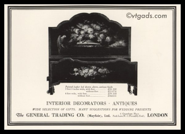 1925 Ad The General Trading Co. | Painted Leather Bed