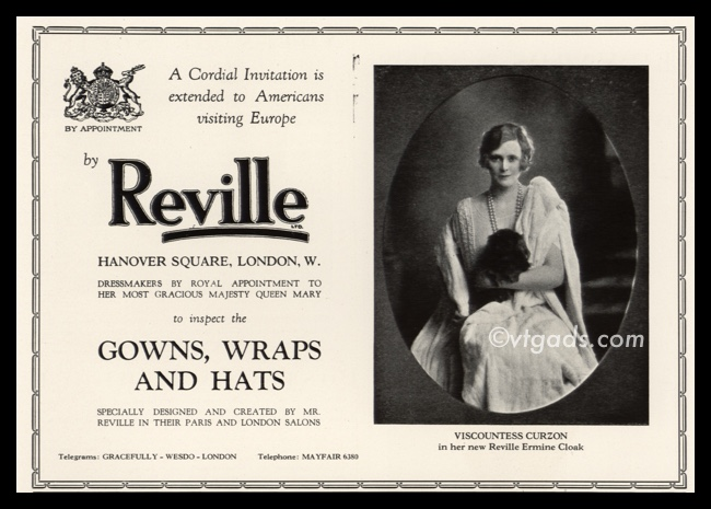 1925 Reville Ermine Cloak Vintage Ad | Viscountess Curzon